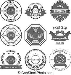 Set of Mixed Martial Arts labels, badges