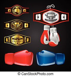 Set of MMA objects - modern vector realistic isolated clip art