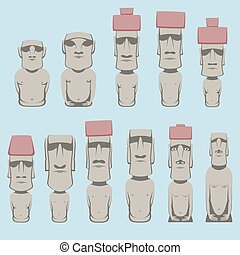 Set of Moai monolithic human figures carved by the Rapa Nui...