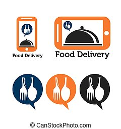 set of mobile food delivery icons