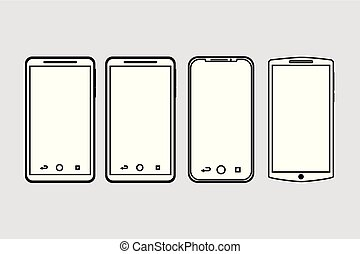 set of mobile phone gadget with blank screen
