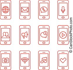 Set of mobile phone icons in thin line style. Contact and communication web icons