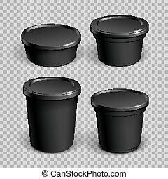 Set of mock up paper cups with plastic cover.