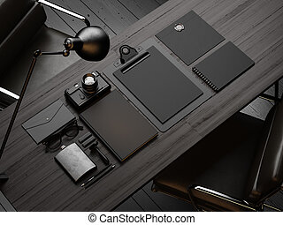 Set of mockup elements on the wood table. 3d render