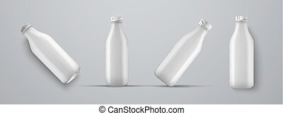 set of mockups plastic white bottles for kefir, milk, yogurt...