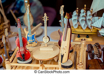 Set of models of wooden musical instruments