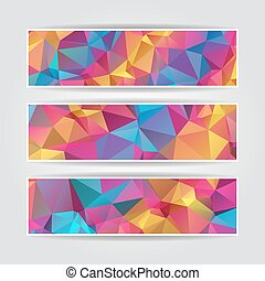 set of modern Abstract Colorful Triangle Polygonal vector header