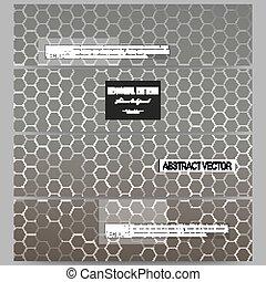 Set of modern banners. Chemistry pattern, hexagonal design vector illustration