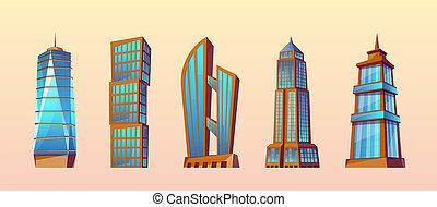 set of modern buildings, urban skyscrapers
