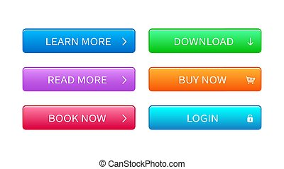 Set of modern buttons for web site.