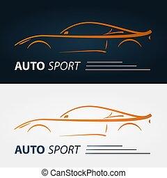 Set of modern car emblems.