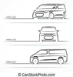 Set of modern car silhouettes. Minivan in three angles....