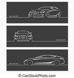 Set of modern car silhouettes.