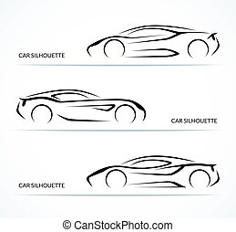 Set of modern car silhouettes. Vector illustration