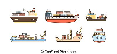 Set of modern cargo ship icons with loading crane, containers. Commercial trade goods shipment, shipping logistics, transportation, delivery. Line art vector illustration isolated on white background