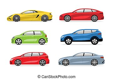 Set of modern cars in flat style isolated on white