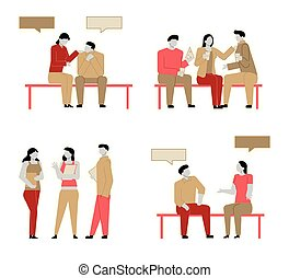Set of Modern cartoon flat people characters talking, colourful contour style. Colorful character people in friendly conversation