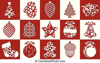 Set of Modern Christmas Tree. New Year's Toy for laser cutting. Vector illustration.