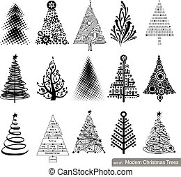 Set of modern Christmas Trees.