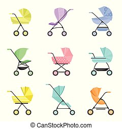 Set of modern colorful baby or kid stroller with wheels