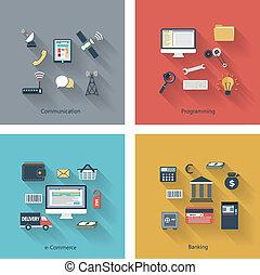 Set of modern concepts in flat design