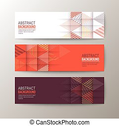 banners template with abstract triangle pattern background -...