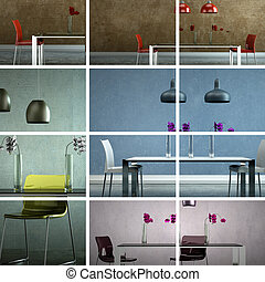 Set of modern dining room Interior design