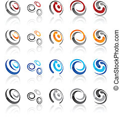Set of modern emblems. - Vector illustration of swirl...