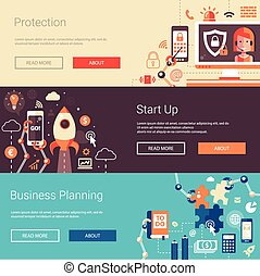 Set of modern flat design business banners, headers with icons and infographics elements. Planning, start up, protection