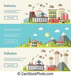 Set of modern flat design conceptual ecological illustrations