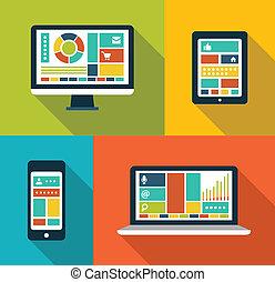 Set of modern flat design gadget icons