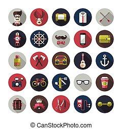 Set of modern flat design hipster icons