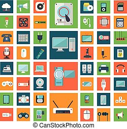 Set of modern flat electronic devices icons.