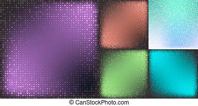 Set of Modern Flat Halftone Backgrounds, vector illustration cian color