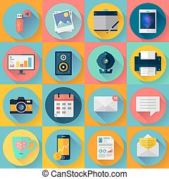 Set of Modern flat icons. Vector collection for freelancers work at home.