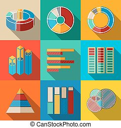 Set of modern flat infographic elements - pie charts, graphics, rates, diagrams etc. Vector