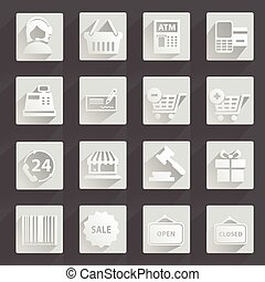 Set of modern flat shopping icons