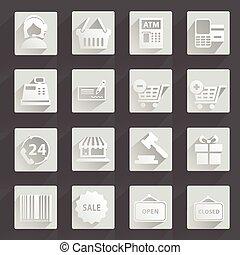 Set of modern flat shopping icons