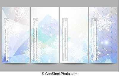 Set of modern flyers. Blue abstract winter background. Christmas vector style with snowflakes