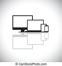set of modern gadgets like laptop, computer, phone - vector graphic. This graphic consists of icons of desktop PC monitor, laptop, cell or mobile phone, tablet and notebook used for web design