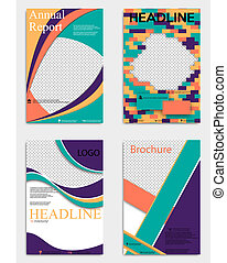 Set of modern geometric business brochure flyer poster template design