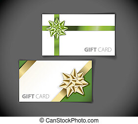 Set of modern gift card templates - golden and green
