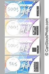 Set of modern gift voucher templates. Colorful design, abstract vector background