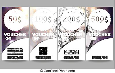 Set of modern gift voucher templates. Colorful design vector background