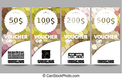 Set of modern gift voucher templates. Polygonal design vector, colorful geometric hexagonal backgrounds