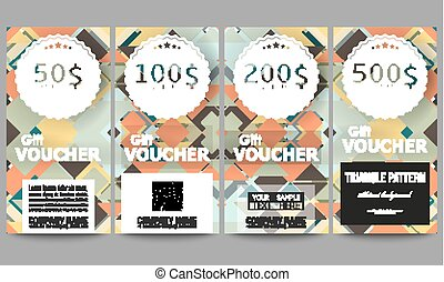 Set of modern gift voucher templates. Material Design. Colored vector background