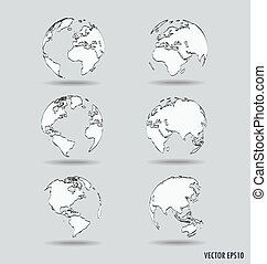 Set of Modern globe drawing concept. Vector illustration.