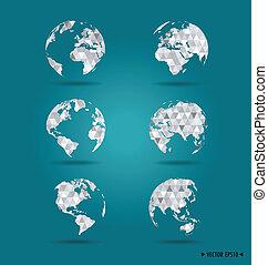 Set of modern globes. Vector Illustration.