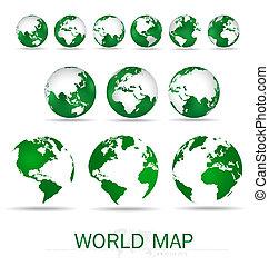Set of modern green globes. Vector Illustration.