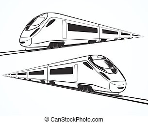 Set of modern high speed train silhouettes